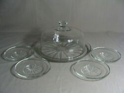 Indiana Glass Clear Glass Cake Plate With Dome Lid And 4 Dessert Plates