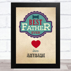 Hipster Best Father Ever Personalised Dad Fatherand039s Day Gift Wall Art Print