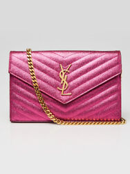 Yves Saint Laurent Metallic Pink Chevron Quilted Textured Leather Envelope Walle