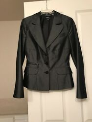 Bebe Metallic Grey Very High Quality Fabric Jacket Small Very Flattering Fitting