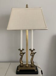 Antique Art Deco Rembrandt Table Lamp Mid Century Modern Rare Fish Paws Wood Bs