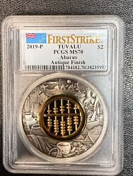 2019 P Tuvalu Abacus 2oz Silver Antique Finish Pcgs Ms 70 First Strike
