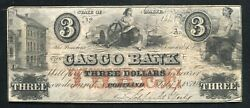 1852/4 3 The Casco Bank Portland Maine Obsolete Currency Note Unique