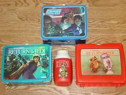 Lot Of 3 Vintage 1980's Star Wars Lunch Boxes Esb Rotj Red Thermos