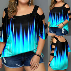 Plus Size Women Sexy Summer Cold Shoulder Top Ladies Casual Loose Blouse T shirt $18.79