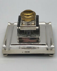 A Unique Antique Silver And Glass Ink Stand, Hallmarked In London 1916.