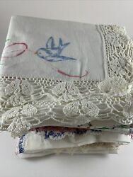 Lot 20 Vintage Linens Table Runner Scarves Embroidery