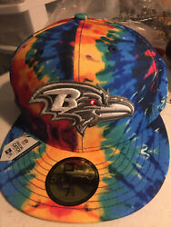 Baltimore Ravens Nfl Crucial Catch Tie-dye On Field 5950 Fitted Hat Cap Cancer