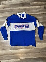 Vtg 1980s Pepsi Rugby Polo Long Sleeve Shirt Spell Out Blue Colorblock Mens Xl