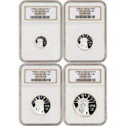1998 W American Platinum Eagle Proof Four Coin Set Ngc Pf69 Ucam