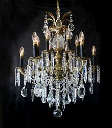 Gorgeous Vintage 12 Light, 25 X 30 Spanish Brass And Crystal Chandelier