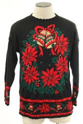 Vintage Black Christmas Sweater Pullover Women Large Or Xl Poinsettias