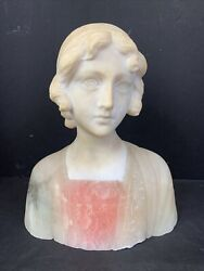 """Nice Quality 19th Century Female Marble And Alabaster Bust 7 1/2"""" X 7""""w"""
