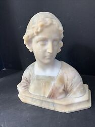 """Nice Quality 19th Century Female Alabaster Bust 9 1/2"""" H X 9 1/2"""" W Signed"""