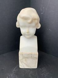 """Nice Quality 19th Century Alabaster Bust 7 1/2"""" H Cool Tab On Bottom Germany"""