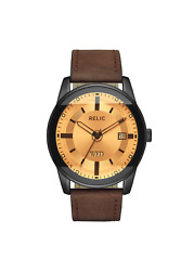 Relic By Fossil Men's Everet Black And Brown Leather Watch