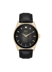 Relic By Fossil Men's Rylan Gold And Black Leather Diamond Accent Watch