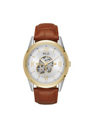 Relic By Fossil Men's Blaine Automatic Two-tone And Brown Leather Skeleton Watch