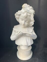 Alabaster Bust Of A Girl With Bonnet 14 3/4 H