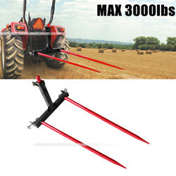 """Category 1 Tractors 3 Point Trailer Hitch Quick Attach W / 2x 49"""" Hay Bale Spear"""
