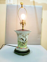 Vintage Chinese Verte Porcelain Table Lamp Working Fine 22and039and039 T
