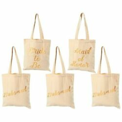 5-pack Bridal Shower Canvas Tote Bags For Wedding Favor Bachelorette Party Gifts