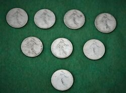 Coinage France 50 Cts 8 Silver Coins 1913-14-15-16-17-18-19-20
