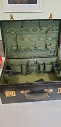 Antique Green Leather Mappin And Webb Large Vanity Case