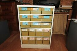 Vintage Metal Kirkhill Parts Cabinet 17 Bins Of Washers And Gaskets Parts 1069