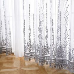 Embroidered Voile Curtains Sheer Mesh Fabric Tulle For Bedroom Window Drapes New