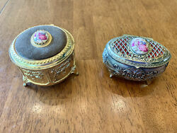 Vintage Set Of 2 Metal Footed Trinket Boxes Victorian Man And Woman Gold Silver