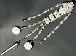 Rare Edwardian L Emanuel Solid Silver Chatelaine With Three Matching Attachments