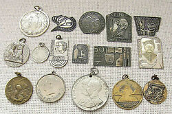 Collection Of 16 Antique And Old Silver And Silver Plated Medals, Badges, Tokens