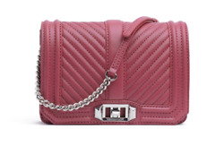 Rebecca Minkoff Fig Chevron Pink Quilted Small Love Crossbody Purse 3622