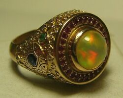 56 14k 585 Solid Rose Gold Imperial Russia Opal Ruby