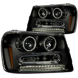 Anzo Led Projector Headlights Clear Ccfl Halo Black For 02-09 Chevy Trailblazer