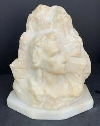 """Alabaster German Bust Of A Girl """"mignon"""" 8"""" X 8"""""""