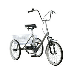 Adult Folding Tricycle Bike 3 Wheeler Bicycle Portable Tricycle 20 Wheels Gry