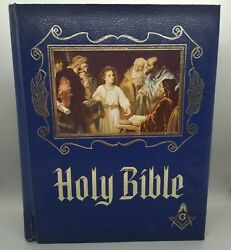 Masonic Presentation Heirloom Ed Holy Bible King James Red Letter Blue Leather