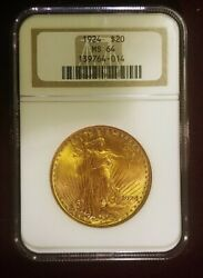Antique 1924 St. Gauden 20 Gold Graded By Ngc Old Holder As Ms-64. 1980s Slab