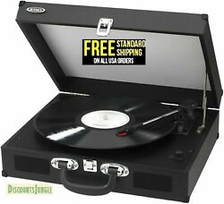 Jensen Jta-410 Portable 3-speed Stereo Turntable With Built-in Speakers - Black