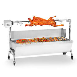 Large Stainless Steel 46 Bbq Pig Lamb Goat Chicken Spit Roaster Rotisserie Spit