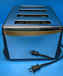 Vintage Proctor Silex 4 Slice Toaster Stainless Chrome Wood Grain W/ Cover Works
