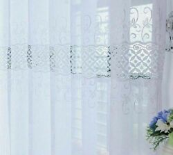 Embroidered Floral Sheer Curtains Window Screens Tulle Fabric Drapes Decorations