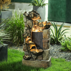 Rustic Outdoor Water Fountain Led Lights Pump Tiered Cascading Yard Garden Decor