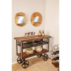 Rustic 36 X 48 Inch Iron And Teak Two-tiered Trolley Cart Black