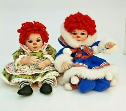 Pair Marie Osmond Fine Collectible Dolls Charisma Eskimo Kiss And Rag-a-muffin