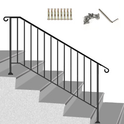 Wrought Iron Handrail 8ft Picket fit 4 or 5 Steps Stair Railing Handrails