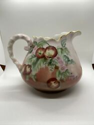 Antique Hohenzollern Germany Hand Painted Cider Pitcher 10andrdquol6andrdquoh Lemonade Pitcher