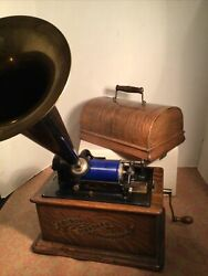 Antique Thomas Edison Model Standard Phonograph And Horn All Original Works